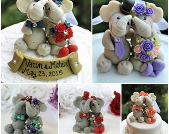 Custom elephant wedding cake topper, elephants in love bride and groom, personalized wedding, with banner
