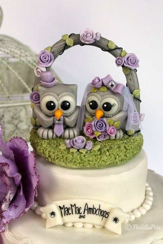 Owl cake topper with wedding floral arch, stand and banner - wedding custom cake topper