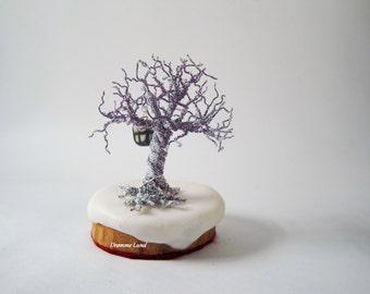 Winter Solace In Purple ~ Wire Tree Sculpture With Glow In The Dark Lantern ~ Winter Wonderland