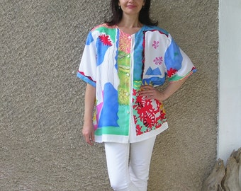 Vintage Italian abstract print shirt, size L-XL