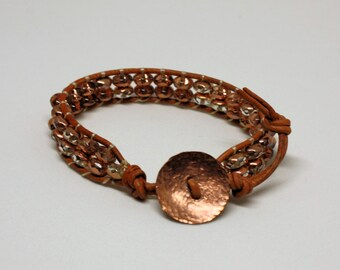 Boho Jewelry, Stack Bracelet - Copper Crystals Leather Wrap Bracelet with Handmade Copper Button Clasp, Copper Jewelry, Crystal Bracelet