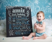 """20""""x24"""" canvas, first birthday chalkboard style custom ink drawing, the original Favorite Things Poster™"""