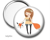 Pocket mirror, purse mirror, compact pocket mirror - 'Fox Girl',  button badge, fridge magnet
