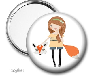 Fox Girl pocket mirror, purse mirror