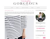 Blogger Template Premade Blog Theme Design Simply Gorgeous - Instant Digital Download, Minimalist, Black and White