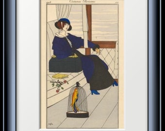 Home Decor ART DECO PRINT by George Barbier of Parisien Voyage Costume from 1913