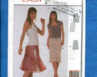 Burda 8521 Bias Cut Skirt with Sheer Overlay Size 8 to 18 UNCUT