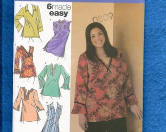 Simplicity 4968 Caftan Style Boho Tops Sizes 18W to 24W UNCUT