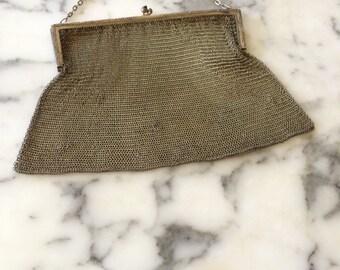 Vintage Mesh Purse Evening Bag Silvertone