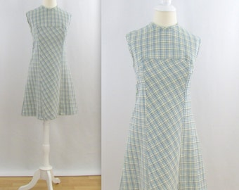 Blue Gingham Picnic Shift Dress - Vintage 1960s Sleeveless A Line Dress in Small