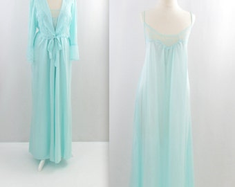 Sweet Mint Nightgown and Robe - Vintage 1980s Peignoir Lingerie Set in Medium by Sears