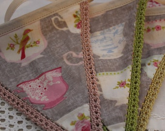 Bunting Teacup garland. Made to Order Vintage Teacups fabric Bunting in putty grey or powder blue with hand crocheted edging.