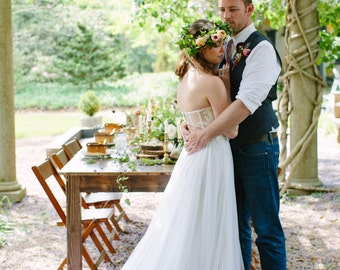 "Bridal Skirt - Cordelia - Dip Dyed Wedding Dress - Ombre Wedding Dress - Two Piece Wedding Dress - Chiffon Skirt 30"" Train"