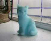 Fenton Cat Figurine Blue Satin Glass Vintage Art Glass