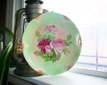 Large Antique Plate Victorian Pink and Red Roses Cookie Platter for Hostess Etruria Mellor
