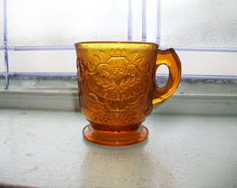 In Fond Remembrance Vintage Amber Glass Mug Cup Roses In Snow Pattern