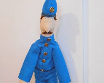Handmade OOAK Doll: Police with Blue Suit and Helmet