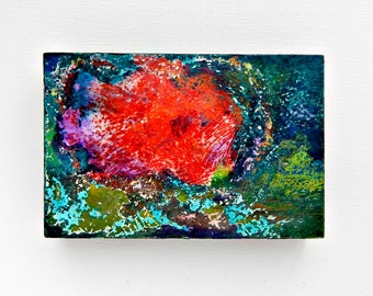 original abstract painting small art 4x6 teal, coral, MIDNIGHT BLOOM, cradled, home decor offfice decor