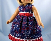 Doll Clothes American Girl - 18 Inch Doll Clothes - Sundress and Hair Bow in Red White and Blue Streamers and Stars - 18 Inch Doll Clothes