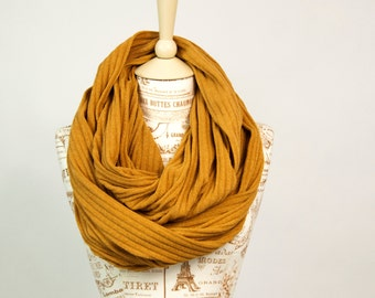 Mustard Infinity Scarf, Fall Sweater Ribbed Knit Cozy, Girlfriend Wife, Womens Gold Yellow Circle Scarves Gift for Her Mom, Best Selling