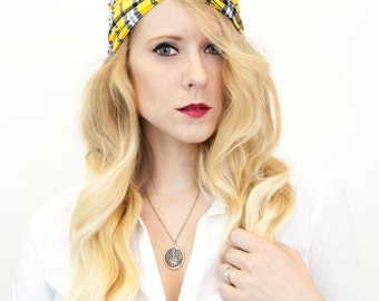 Womens Plaid Headband, Twist Turban, Fall Adult Yellow Knot Head bands, Fitness Workout Gift for Her, Stretch, Retro Hair Band Fabric Jersey