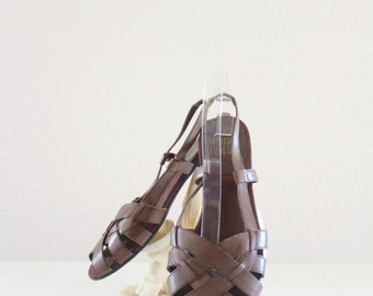 chocolate leather sandals / 8.5