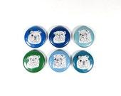 English Bulldog magnets in blue