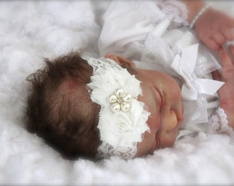 Vintage Inspired White Lace & Pearl Christening Headband Baby Dedication Communion Baptism Gift First Communion Shabby Chic Flowers, Sparkly