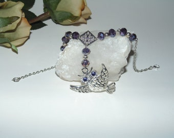 Owl with silver filigree and purple crystals - Rear view mirror hanging, car charm