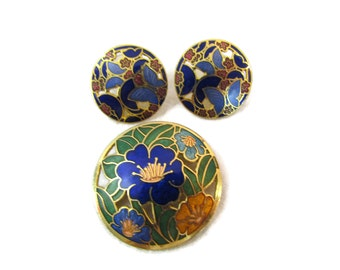 Cloisonne Brooch Pin Cloisonne Earrings Cloisonne Jewelry Flower Brooch Enameled Asian Jewelry Gold Inlay Antique Brooches Enamel Jewelry