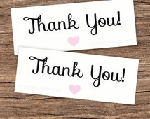 Thank you Favor Favour Bag Toppers Black & Pink Printable – Birthday Party – Wedding Cake – Instant download