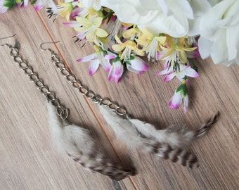 Feather and Chain Dangle Earrings