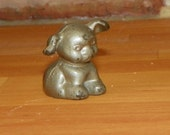 Antique Mini GRISWOLD Puppy Pup Dog Signed Miniature Nickel Childs Toy Cast Iron