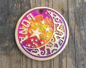 Colorful Dog Tag, Pet Tag, Custom Dog Tag, Etched, Pet ID Tag, Colorful Moon and Wishing Star