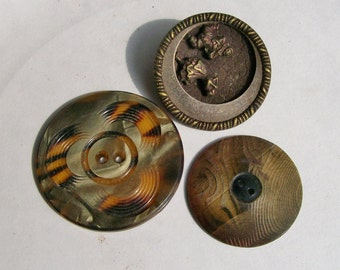 Vintage / Antique 3 LARGE BUTTONS Acrylic Tortoise shell Brass Figures Pearl Woodgrain Mixed Media Art Craft Sewing Clothing Statement