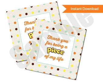 Reese's Pieces Thank You Teacher Appreciation Favor Tag Sticker Custom Printable