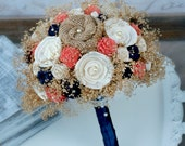 Custom Dyed Coral Orange & Navy Heirloom Bride's Bouquet - Coral and Navy Collection - Cream Ivory Sola Wood, Wildflowers, Burlap Flowers