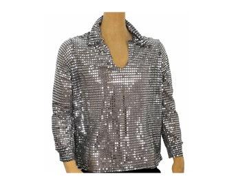 Men's 70's Disco Shiny Sequin Shirt Silver