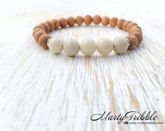 White Stone Bracelet, Wood Bracelet, Riverstone Bracelet, River Stone Jewelry, Handmade Bracelet, Cream White Bracelet, Boho Stone Bracelet