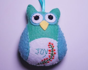 Felt Owl Christmas Ornament, Hanging Owl, Inspiration Owl, Stuffed Owl, Hand Stitched Owl