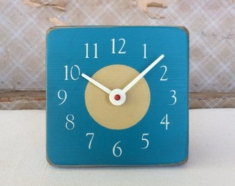 Unique Wood Wall and Desk Clock - Teal Blue and Golden Yellow