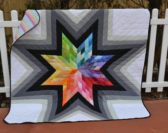 Modern Rainbow Wall Art Quilt Handmade Mod Star Hippie Hipster Boho Chic Rainbow Bedding Luxury Wall Hanging Graphic Pixel Large Throw Quilt