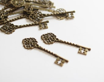 4 Antique Bronze Key Charms - 69x20mm - Ships IMMEDIATELY from California - BC208