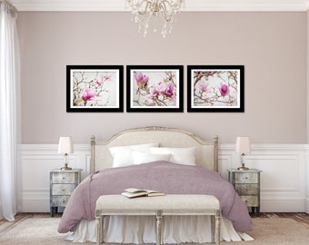 Magnolia Artwork Set Of 3 Pictures, Bedroom Wall Art Set, Grey And Pink  Print