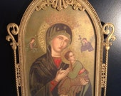 Vintage Russian icon Our Lady of Perpetual Hope in brass filigree frame