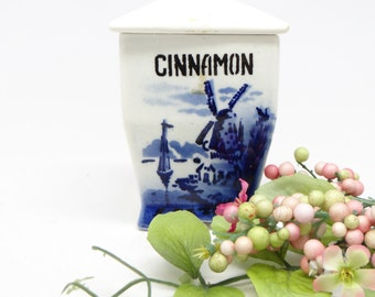 German Antique Cinnamon Spice Canister Jar, Blue and White with Lid