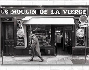 Paris Photograph on Canvas - Classic Paris Moment,  Gallery Wrapped Canvas, Black & White, Street Photograph, Urban Decor, Large Wall Art