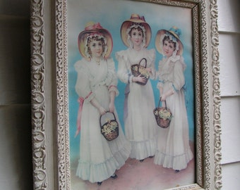 A STUNNING Beaded Highly Detailed Wood FRAME Highlights this German Print of Three Basket and Bonnet Girls