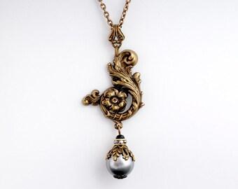 Silver Pearl Necklace, Ornate Filigree Pendant Necklace, Nickel Free Necklace, Brass Filigree Necklace, Grey Pearl Filigree Jewelry, Elpida