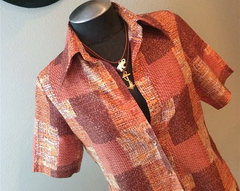Seventies Vintage Patchwork Blouse Size Small